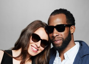 Jonathan Jackson and Sarah Nelson of WSDIA spor Warby Parker shades. Image credit: Warby Parker.