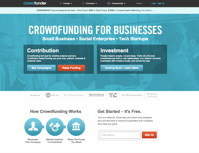 A screenshot of the Crowdfunder's site, which connects social entrepreneurs and investors.