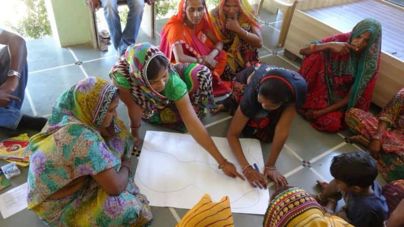 Women from Ahmedabad, India participate in a water mapping exercise as a part of an MIT evaluation of water test kits.