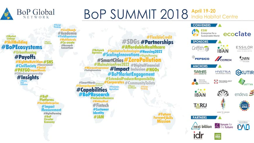 Building BoP Ecosystems: Register for the 2018 BoP Global Network Summit: April 18 – 20, New Delhi, India