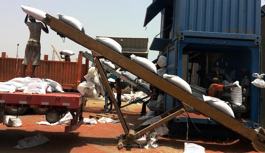 Unloading USAID food at Djibouti port