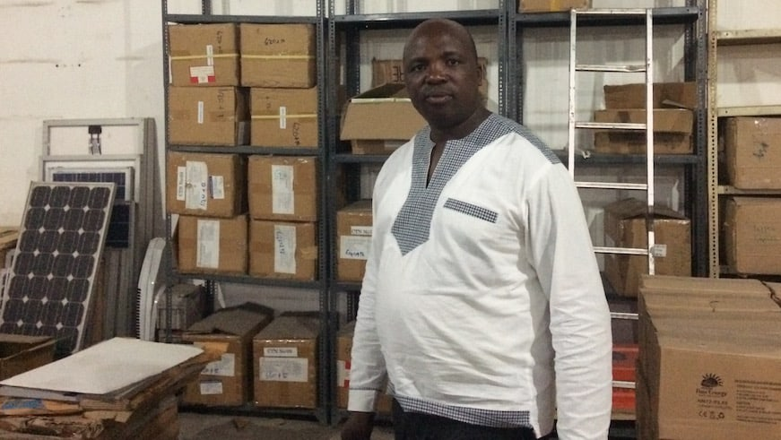 Francis of RexSolar in a warehouse