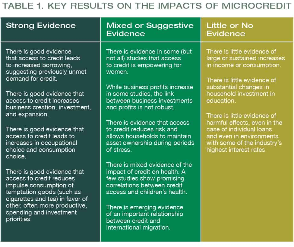 Measuring the Impact of Microfinance - Looking to the Future pg18_table