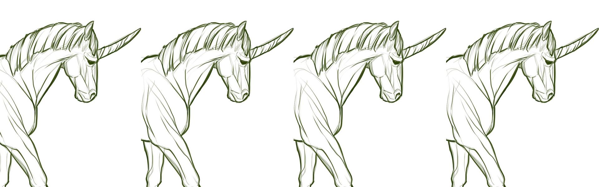 Old unicorn drawings
