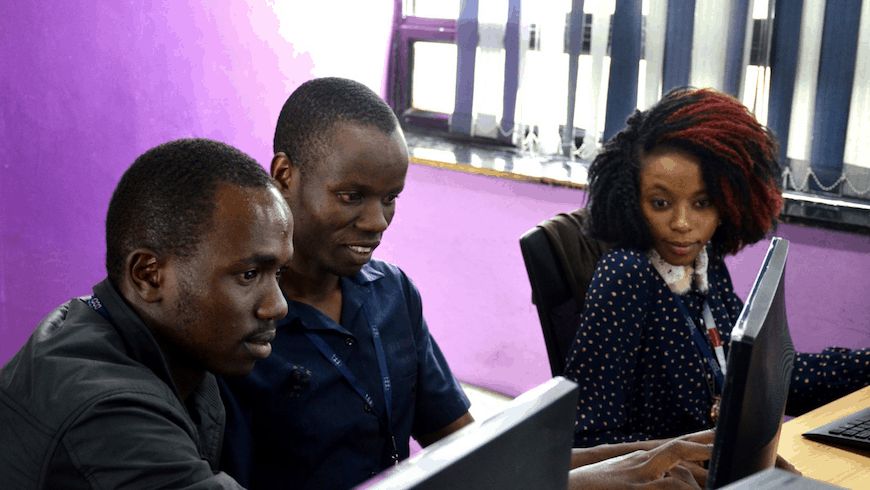 Young people working on computers