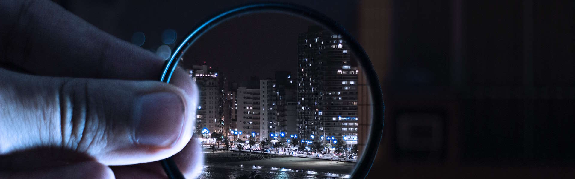 magnifying glass and city street