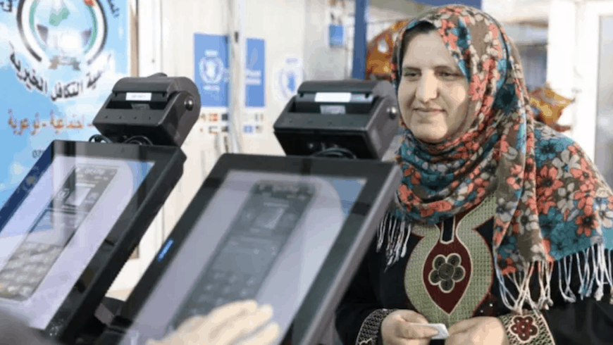 t the Azraq camp in Jordan where blockchain technology has been implemented to help refugees purchase food using biometric data. Image credit: WFP.