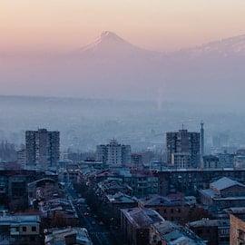 yerevan armenia city mountain urban skyline eastern europe