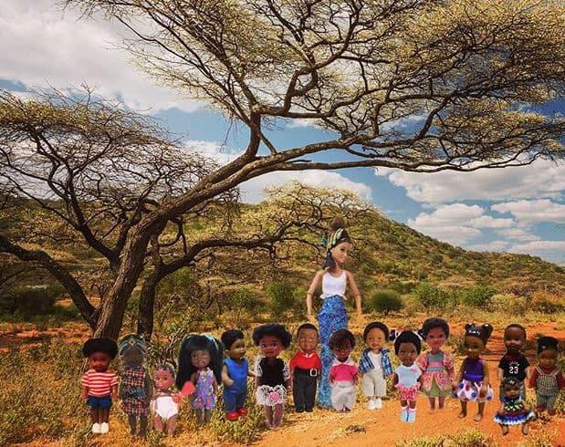 White Barbie savior with children