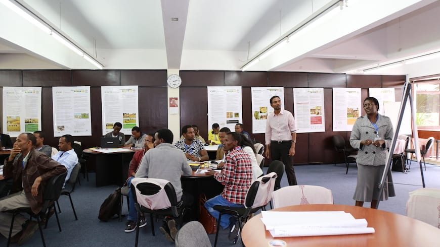 People participate in a workshop in Ethiopia.
