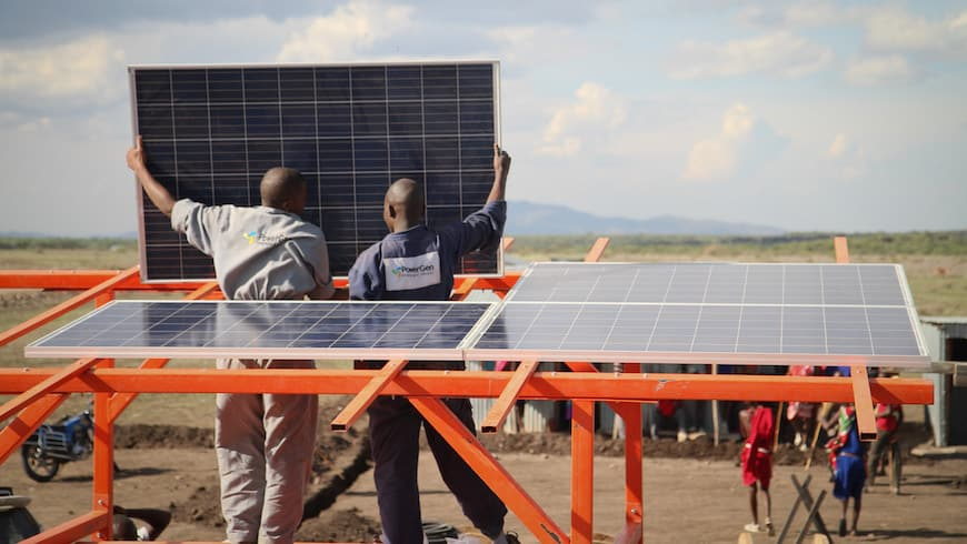 Installing a solar panel as part of a mini-grid