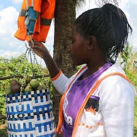 A KadAfrica participant weighing passion fruit harvest in Uganda