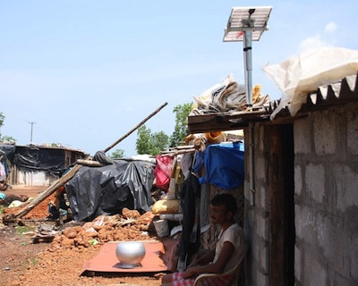 A SELCO solar sytem in the Manipal slum. Image courtesy of SELCO.